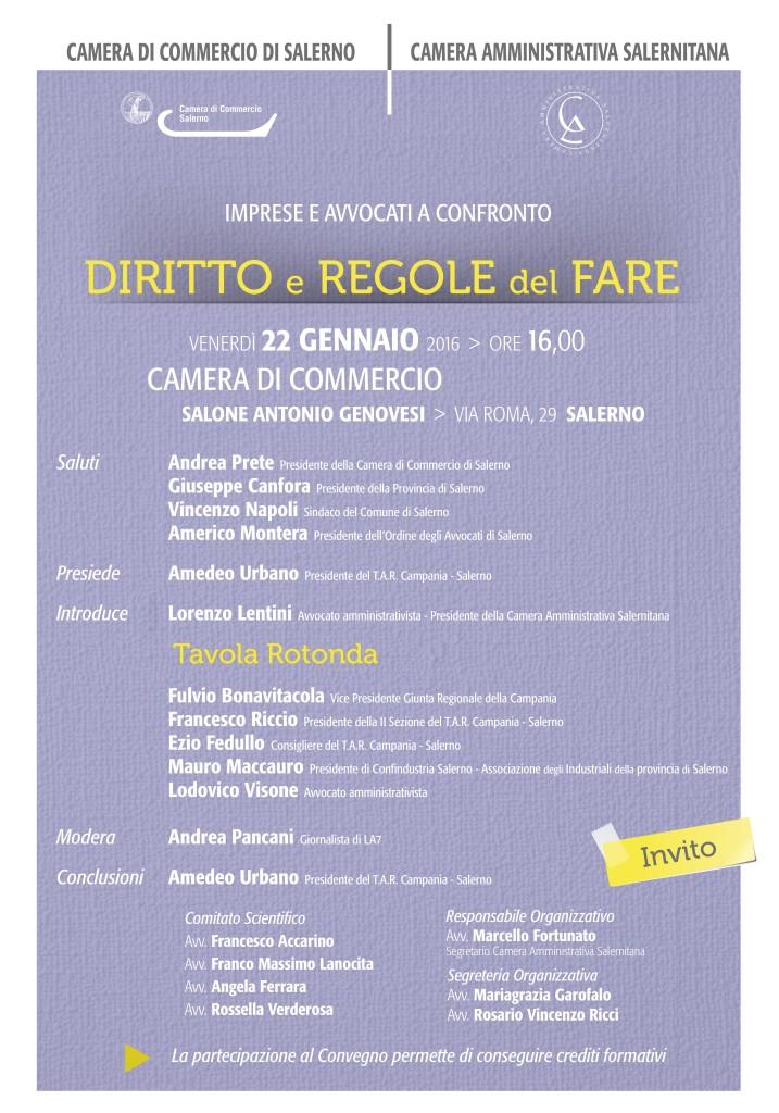 """Imprese e Avvocati a confronto """"Diritto e Regole del Fare """"  - 22 gennaio 2016 - Camera di Commercio di Salerno"""