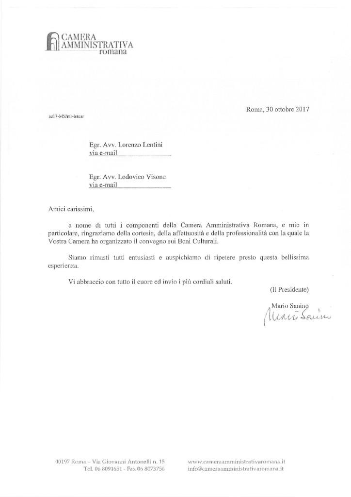 Nota della Camera Amministrativa Romana per il Convegno Nazionale di Ravello